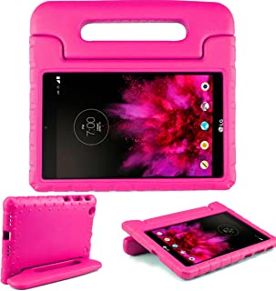SIMPLEWAY LG G Pad X 8.0 Kids Case, Only Fit AT&T V520 / T-Mobile V521 Tablet, Carry Handle Child Stand Holder Shockproof Protective Cover Case Compatible with LG 8 Inch G Pad, Rose