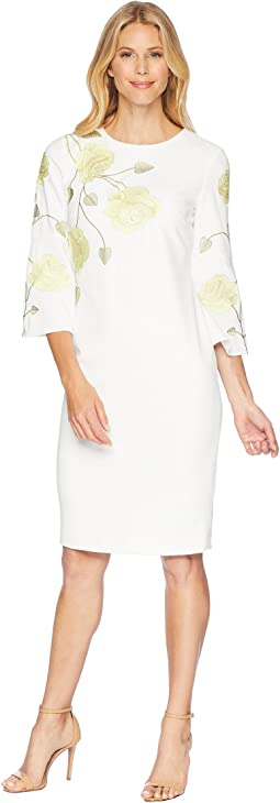 Tahari by ASL Long Sleeve Floral Embroidered Crepe Sheath Dress