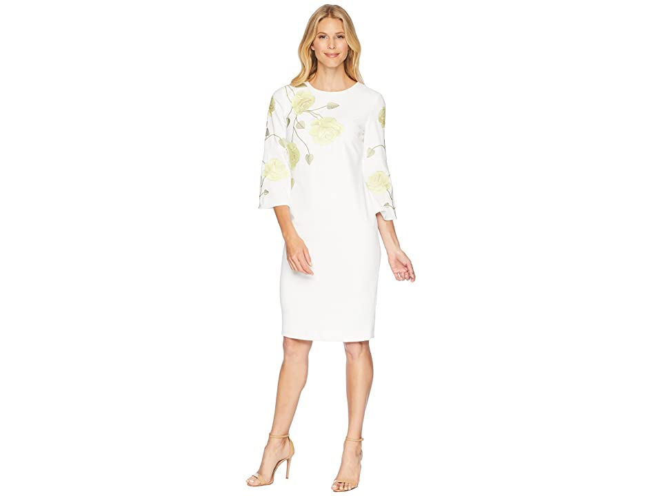 Tahari by ASL Long Sleeve Floral Embroidered Crepe Sheath Dress (White/Citron/Green) Women