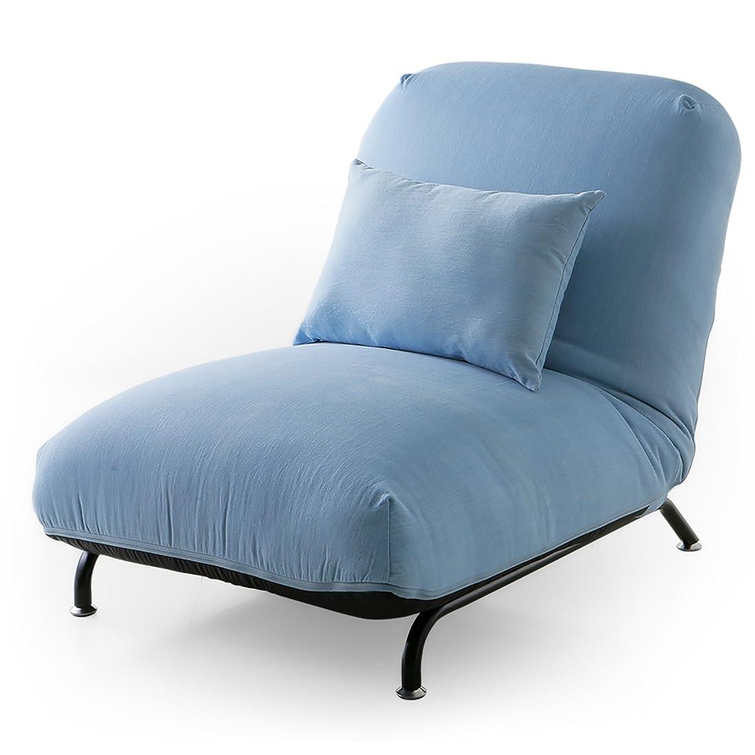 高さ著作権将来のLOWYA (ロウヤ) 座椅子 一人掛け ソファ リクライニング 42段ギア 脚付き ワイド クッション付 デニム生地 ライトブルー おしゃれ 新生活