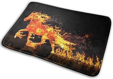 Non-Slip Doormats Fire Horse Entrance Rug Indoor/Outdoor Carpet Absorbs Moisture Washable Dirt Trapper Mats