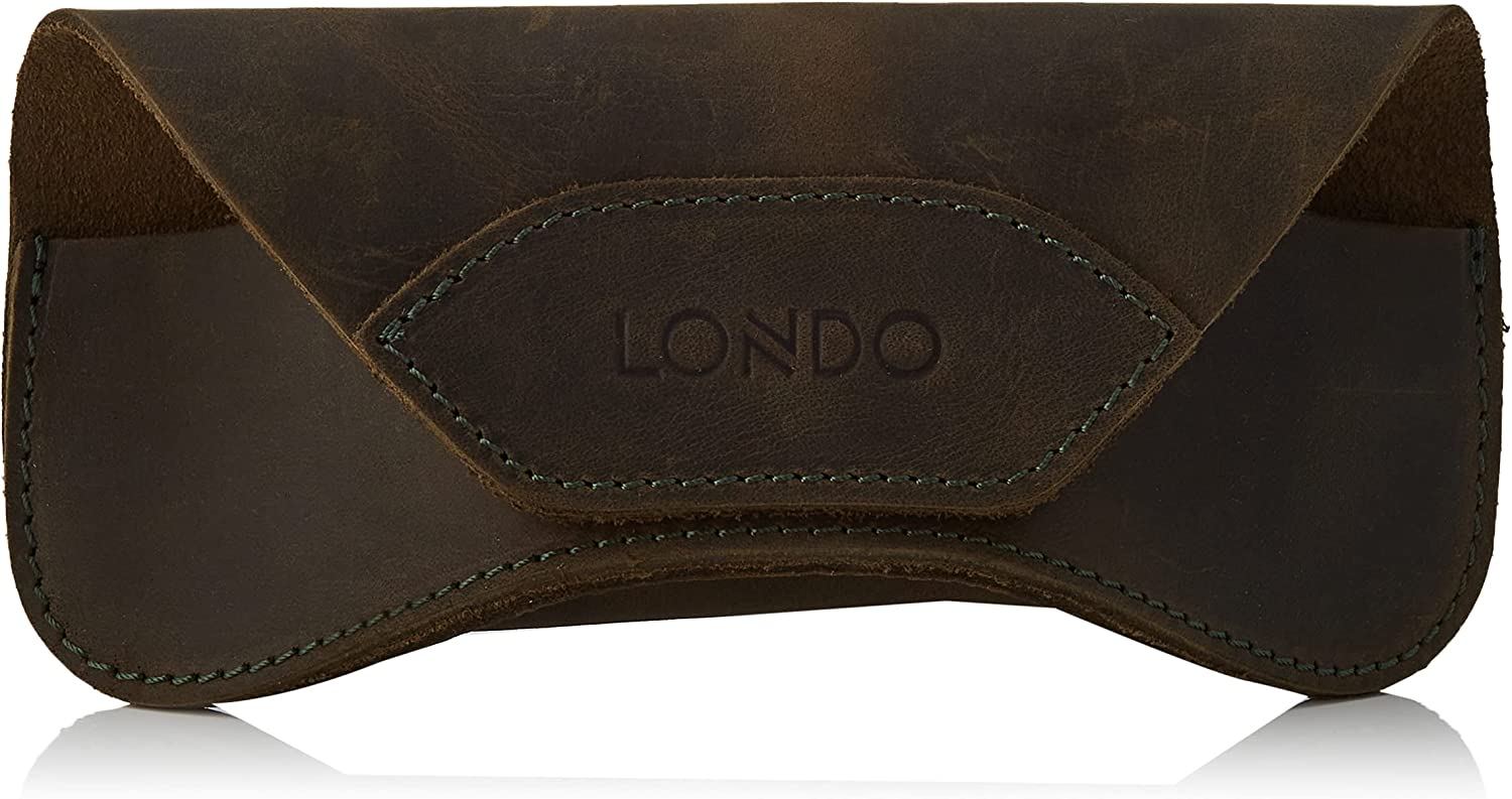 Londo Genuine Leather Eyeglasses & Sunglasses Case with Magnetic Snap Closure, Green, One Size (OTTO302)