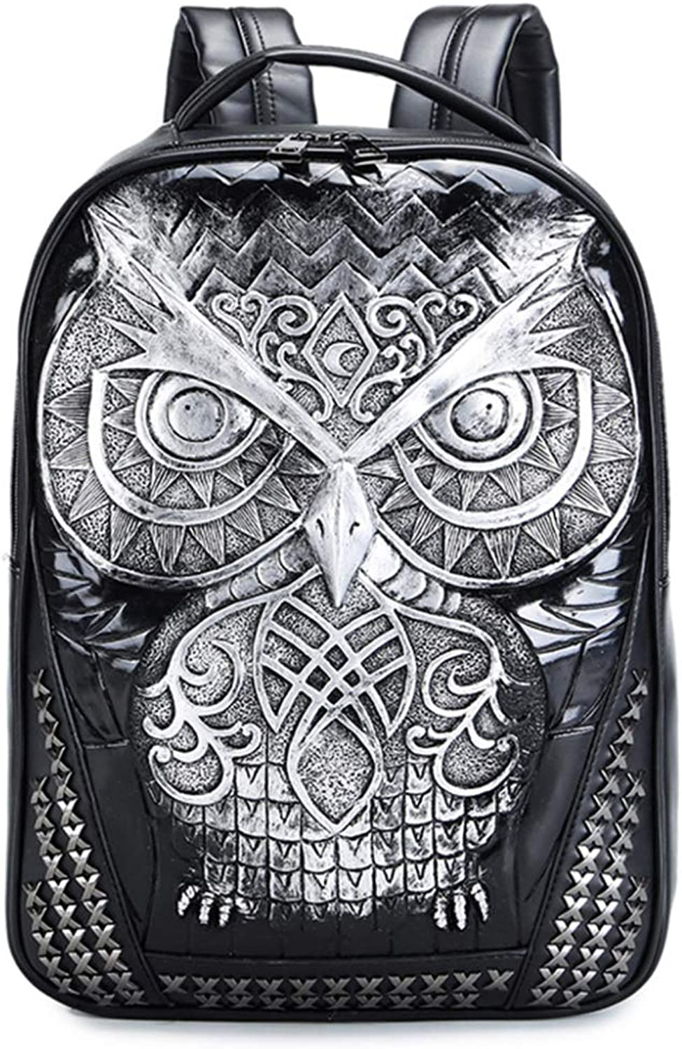 PLIENG Backpack Ladies Fashion 3D Owl Waterproof Laptop School Casual Travel Business Pack,Silver