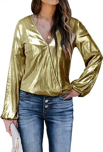 YOINS Blusas Metálicas Sexy Top Mujer Glitter Camisetas de Manga Larga Brillante Tops Cuello V Club Fiesta Moda