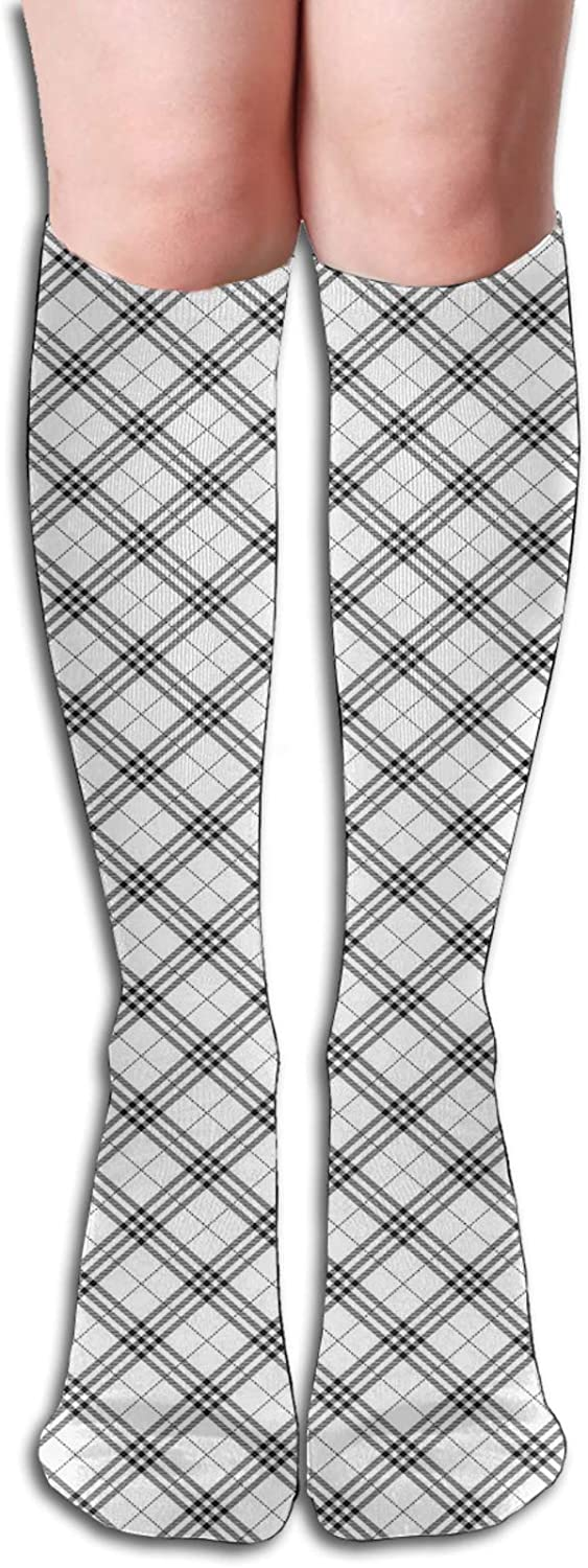 Compression High Socks-Monochromatic All items free shipping Diagonal Check Regular dealer With Pattern