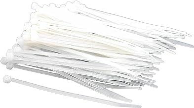 "Sungpunet 100 White Nylon Cable Zip Ties Self Locking 2.5mm x 4"""