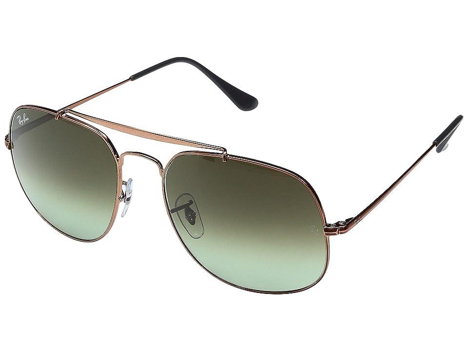 Ray-Ban 0RB3561 The General 57mm (Shiny Medium Bronze Frame/Green Gradient Brown Lens) Fashion Sunglasses