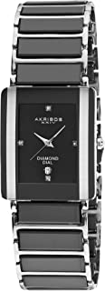 Akribos XXIV Men's Rectangular Diamond Watch - 4 Genuine Diamond Hour Markers with Date Window On Ceramic Inner Link Bracelet - AK521