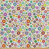 ABAKUHAUS Blumen Stoff als Meterware, Netter Hippie
