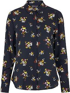 Marks & Spencer Women's Floral Long Sleeve Shirt, NAVY MIX