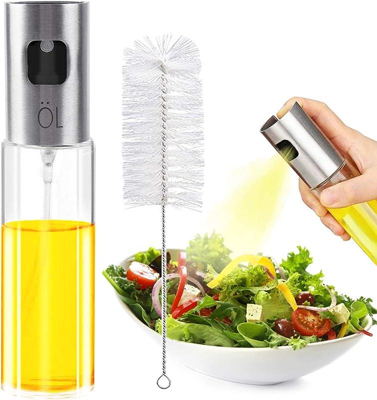 Nozama Olive Oil Sprayer For Cooking Premium Glass Oil Vinegar Soy Sauce Dispenser Pump Sprayer For BBQ Grilling Kitchen Cooking Salad Bread Baking Frying Making Salad