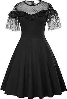 Kate Kasin Women's Ruffles Lace Short Sleeve Vintage Polka Dot Cocktail A-Line Swing Dress
