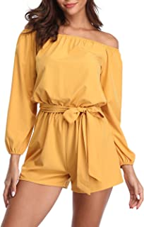 690bcb5234c2 MISS MOLY Rompers for Women Long Sleeves Boat Neck Off The Shoulder  Strapless Mid Rise Casual
