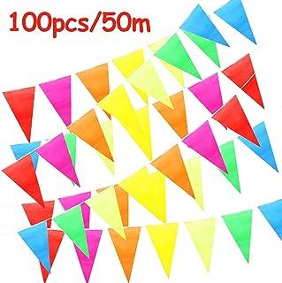 ZoneYan Banderines Decoración, Bunting Banner, Banderín Multicolor 50M con 100 Bunting Bandera de Triángulo para el Partido Jardín al Aire Libre y Otras Fiestas