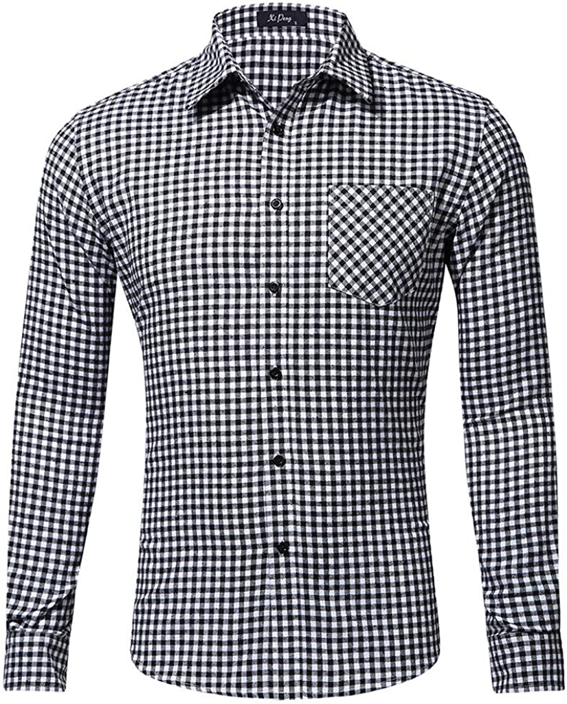 DIOMOR Classic Business Plaid Long Sleeve Shirt for Men Casual Slim Fit Checks Button Down Shirts for Work Dress Shirts