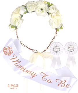 Mother to Be Flower Crown White Set, Mommy to be Sash and Pin, Dad to Be Pin, White Baby Shower Party Favors Decorations Gift for Girl