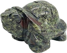 "faovramulet Hand Carved Stone Turtle Tortoise Animal Figurine Pocket Statue Sculpture, Dragon Bloodstone 1.5"""