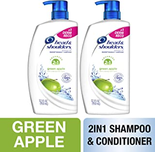 Head and Shoulders Shampoo and Conditioner 2 in 1, Anti Dandruff Treatment and Scalp Care, Green Apple, 32.1 fl oz, Twin Pack