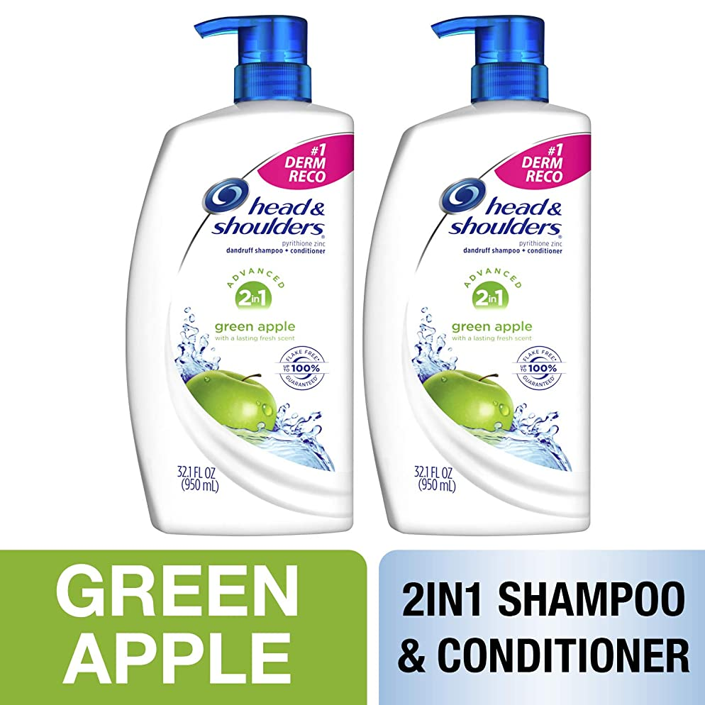Head and Shoulders Shampoo and Conditioner 2 in 1, Anti Dandruff Treatment, Green Apple, 32.1 fl oz, Twin Pack