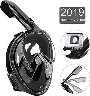 Full Face Snorkel Mask, Foldable 180° Panoramic View Scuba Snorkeling Mask Free Breathing, Detachable Camera Mount Pivot F...