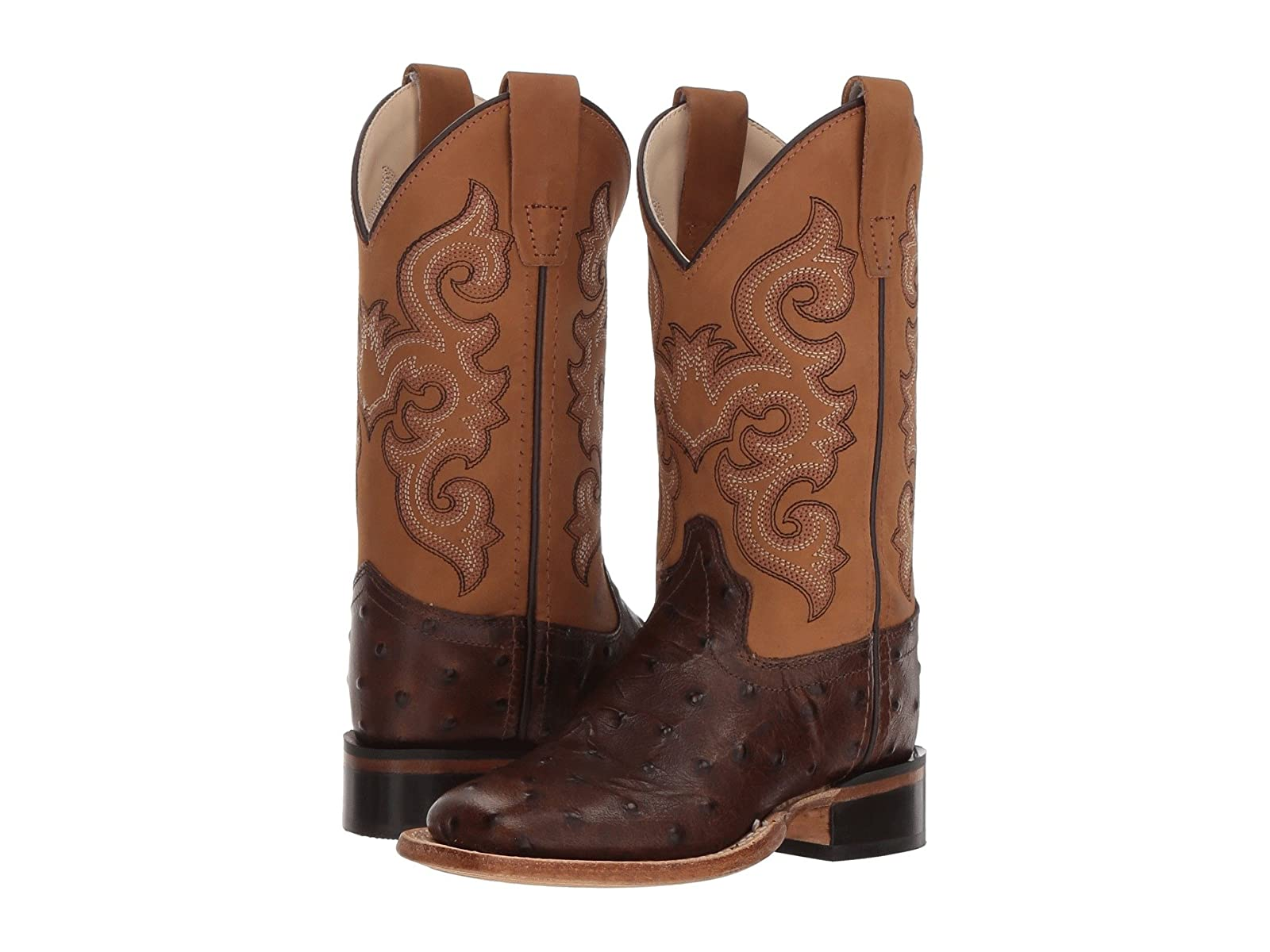 Old West Kids Boots Ostrich Print Square Toe (Toddler/Little Kid)Economical and quality shoes