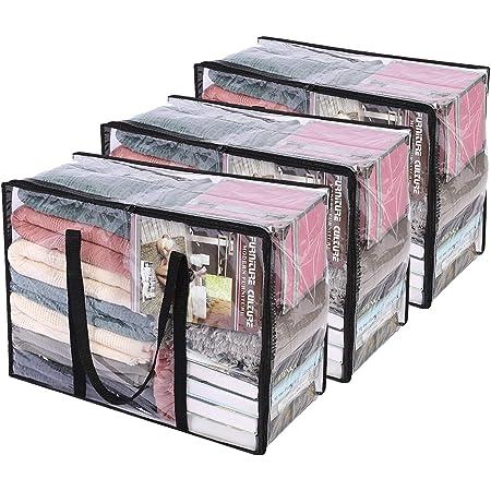 3 Paquet Clair Sacs de Rangement pour Vêtements avec Poignée Renforcée, 55 X 40 X 25 cm, Organisateur de Vinyle pour Couette Couverture Fourre Tout Transparent avec Fermeture à Glissière Robuste