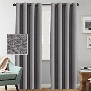 Room Darkening Linen Curtains 84 Primitive Country Decor Luxury Textured Linen Curtains Window Treatment Thermal Insulated Grommet Linen Curtains for Bedroom, 52 by 84 Inch - Grey (1 Pair)