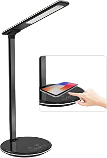 LED Desk Lamp with Wireless Charging, Smart Touch Control Eye Protection Table Lamp for Reading, Family, Bedroom, 4 Levels...