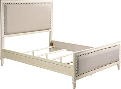 LuXeo LUX-Q2501-WHT Cambridge headboard, Footboard, Bed Frame, Queen White