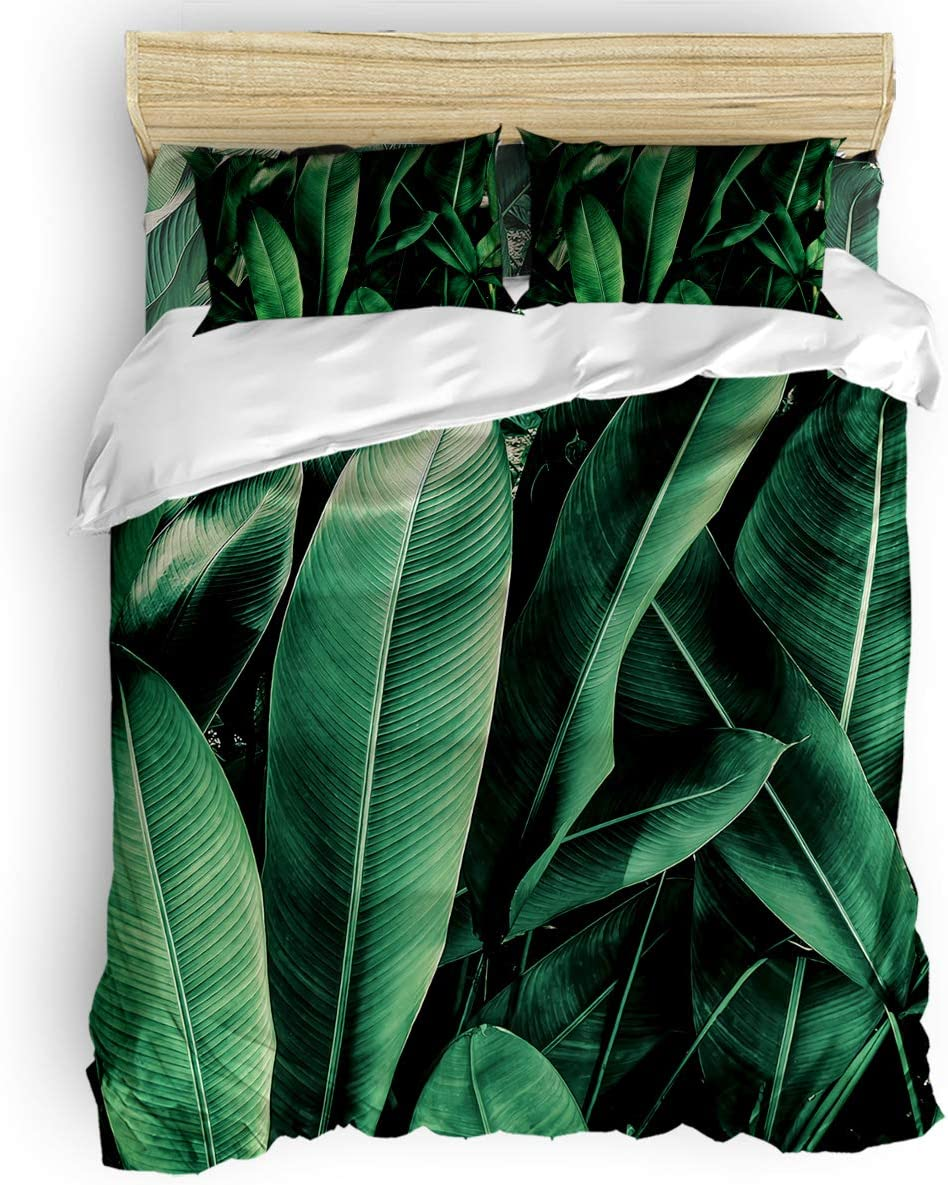 Washed Microfiber Duvet New life Cover Set Twin Tropic Size Oklahoma City Mall Green Plant B