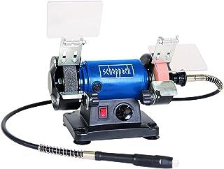 Scheppach 5903106901 Mini dubbelkvarn HG34 förpackning med 1 blå silver svart