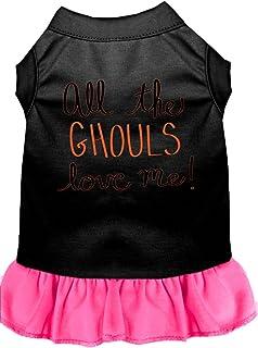 فستان للكلاب مطبوع عليه All the Ghouls من ميراج بت برودكتس، مقاس صغير، أسود مع وردي ساطع