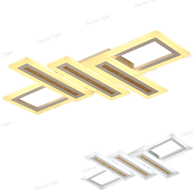 LED Deckenleuchte Modern Dimmbar Wohnzimmer Lampe Decke LED Design Pendelleuchte 79W Aluminium Acryl Schatten Indoor Decke Top Licht Einstellbar Farbtemperatur Helligkeit Deckenlampe