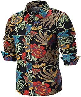 Mens Casual Tops Long Sleeve Shirt Business Slim Fit Shirt Print