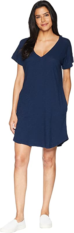 Short Sleeve Vee Dress with Pockets