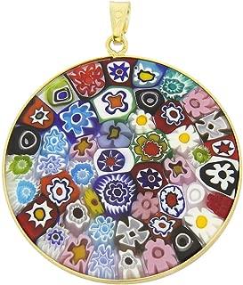 GlassOfVenice Murano Glass Millefiori Pendant Multicolor in Gold-Plated Frame 1-1/