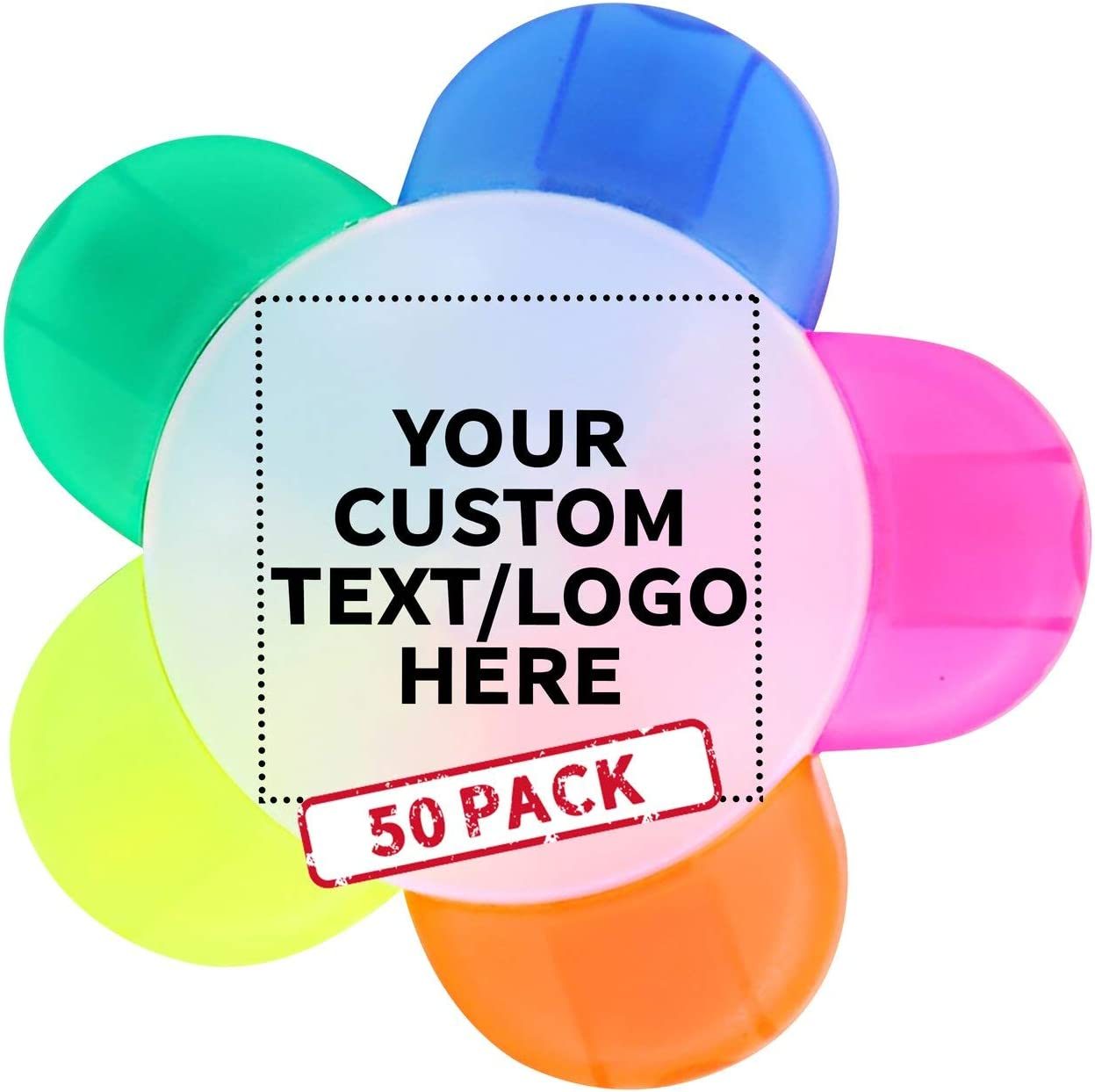 Flower Multi-Color Price reduction Highlighters - 50 Cheap Customizable pack Text L