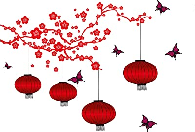 Prodecals Wall Sticker for Living Room Chinese Lamps and Butterflies in RED (Wall Covering Area : 175 X 180 cms, Multicolour)