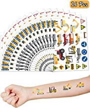 Construction Party Supplies Favors, 16 Sheets Temporary Tattoos Skin Stickers, Dump Truck Party Decorations Kits Set for Kids Birthday Party