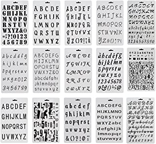 Debolic 15 Pack Alphabet Letter Number Stencils Plastic Bullet Journal Drawing Painting Stencil Supplies Template for Painting and Crafts