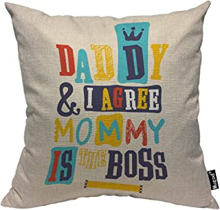 Mugod Best Mom Decorative Throw Pillow Cover Case Daddy and I Agree Mommy is The Boss Crown Red Blue Yellow Cotton Linen Pillow Cases Square Standard Cushion Covers for Couch Sofa Bed 18x18 Inch