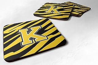 "Caroline's Treasures CJ1026-KFC Monogram-Tiger Stripe-Black Gold Foam Coasters (Set of 4), Initial Letter K, 3.5"" H x 3.5""..."