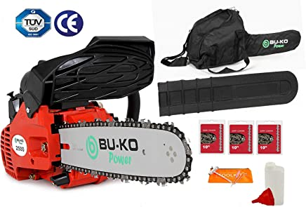 BU-KO 26 CC Ligero 3.5kg - Motosierra de Gasolina con manija Superior | Incluye 3 Cadenas y Barra de 10