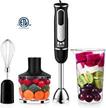 MoMA Immersion Blender - 500 Watt Hand Blender Mixer - 4-In-1 Blender Immersion Set - Black Kitchen Immersion Blender with 8 Speed Dials Setting - Immersion Hand Blender for Healthy Food