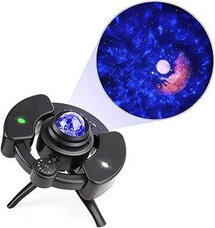 Lámpara Proyector de Estrellas, Lámpara de Nocturna,Función de Temporización y Musical Bluetooth Para Niños, Bebés, Adultos, Dormitorio, Vacaciones, Fiesta, Navidad(Negro)