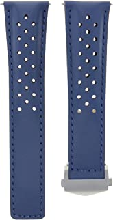 22MM BLUE LEATHER BAND STRAP CLASP FOR TAG HEUER CARRERA MONACO CALIBRE 12 WATCH