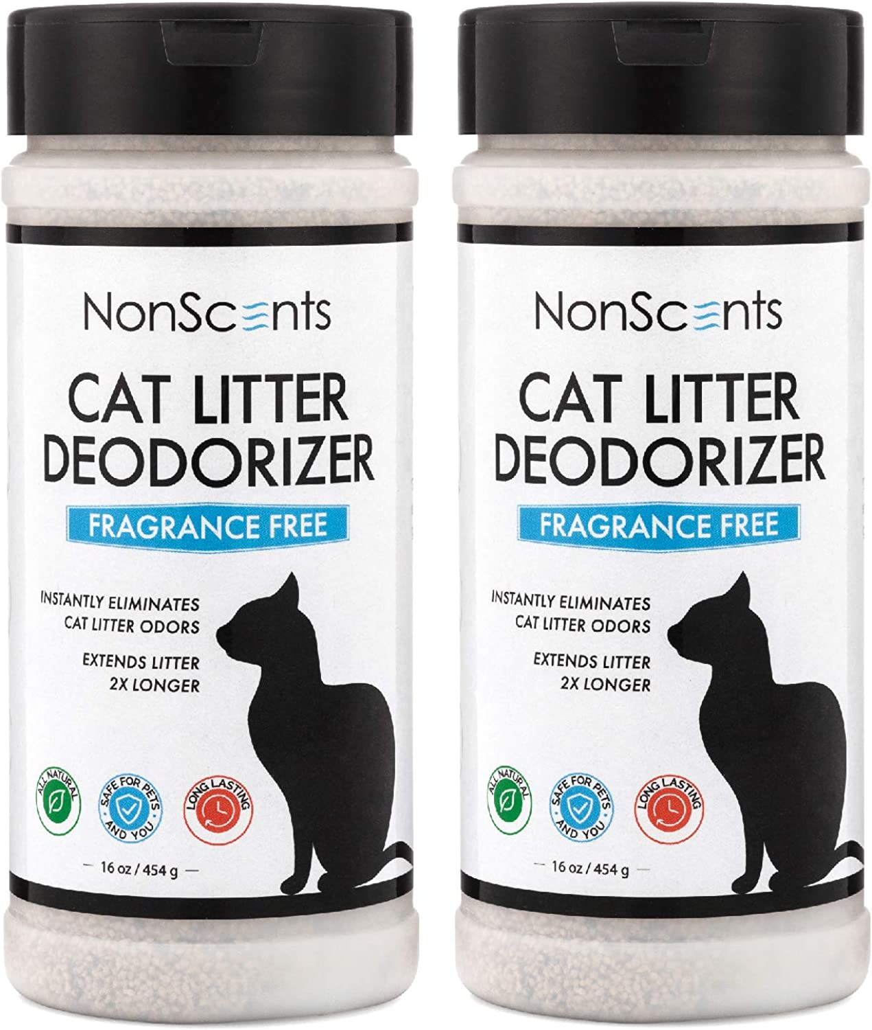 NonScents Cat Litter Deodorizer  Litter Box Odor Eliminator  Fragrance Free  Longer Kitty Litter Life  2Pack
