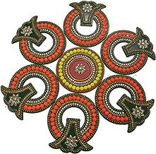 KRIWIN® Big Size Floor/Wall/Table Acrylic Rangoli Decorative Showpiece (7 pcs Set)