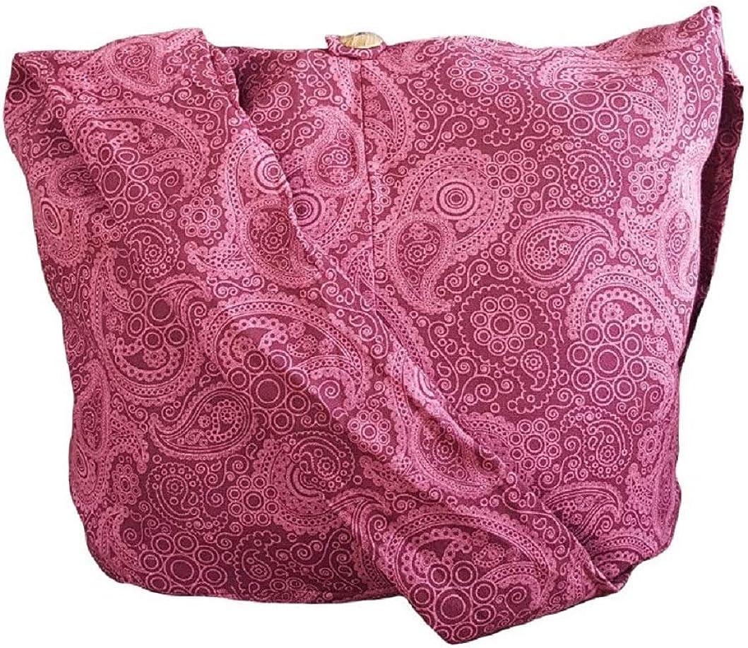 Thai Cotton Hippie Hobo Sling Crossbody Bag eco Friendly Shopping bag Paisley Print Large BTP