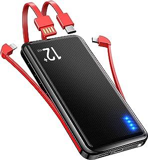 【4ケーブル内蔵 & 18WPD対応】 モバイルバッテリー 大容量 12000mAh 軽量 18W PD 3.0 & QC 3.0 最大3A出力 (Micro USB/Type-C/Lightning出力ケーブル+USB入力ケーブル内蔵) スマ...